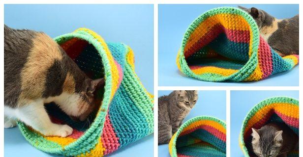 DIY Cat Stuff... How to Arm Crochet a cat bed   Crochet cat bed ...   320x616