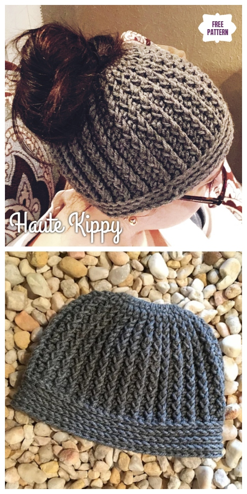 Crochet Gina Messy Bun Hat Free Crochet Pattern