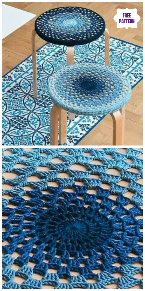 Crochet Granny Stitch Mandala Stool Cover Free Crochet Pattern