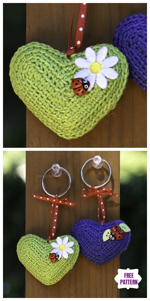 Crochet 3D Heart Be Mine Keychain Amigurumi Free Patterns