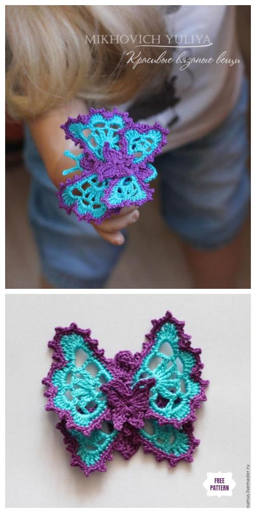 Crochet Lace Butterfly Applique Free Crochet Pattern