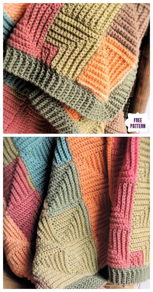 Crochet Mitered Patchwork Throw Blanket Free Crochet Pattern