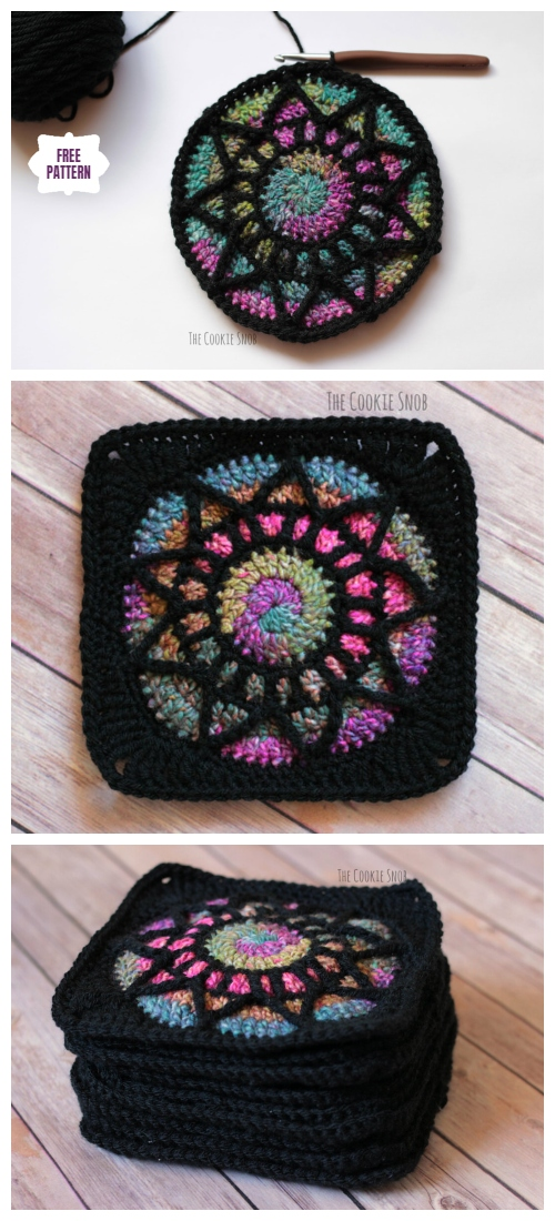 Crochet Stained Glass Square Free Crochet Pattern