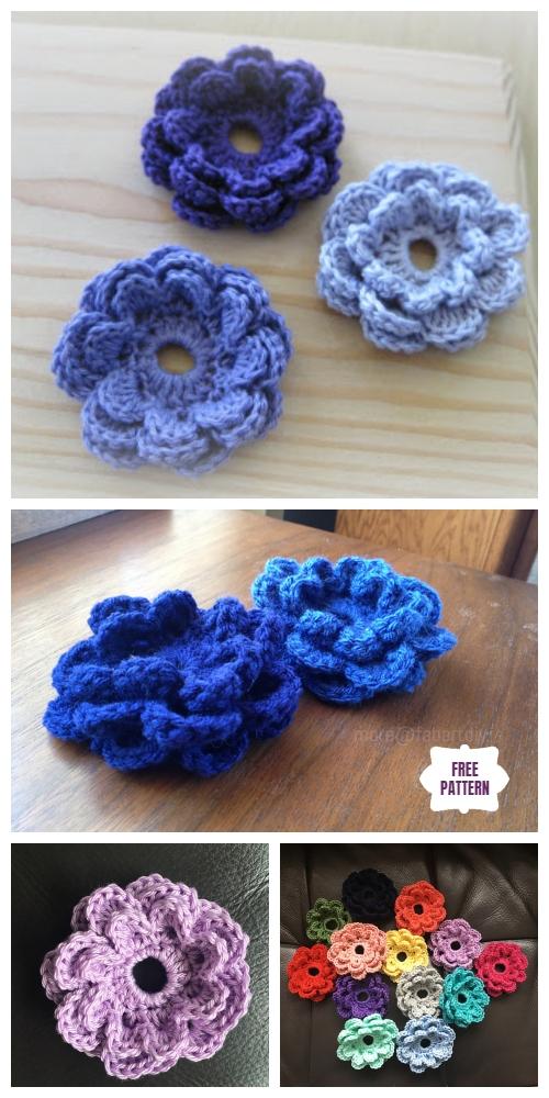 Easy Crochet Triple Layer 3D Flower Accent Free Crochet Pattern