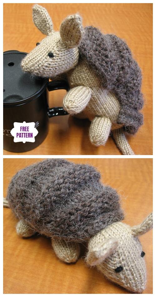 Knit Armadillo Toy Free Knitting Pattern