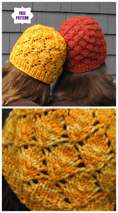 Knit Foliage Hat Free Knitting Patterns