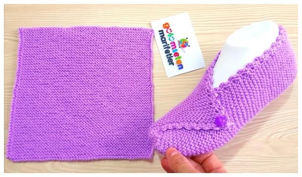 Knit Mesh Square Slippers Free Knitting Pattern - Video