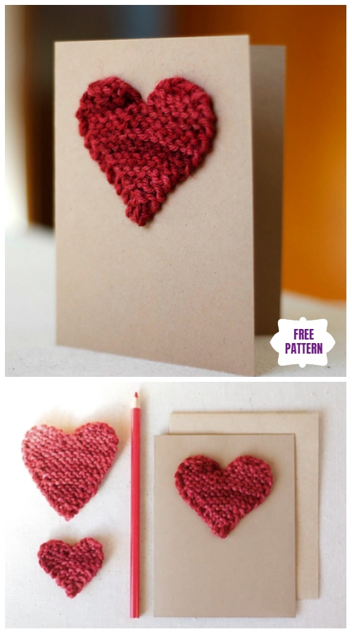 Knit Valentine Heart Gift Card Topper Free Knitting Pattern