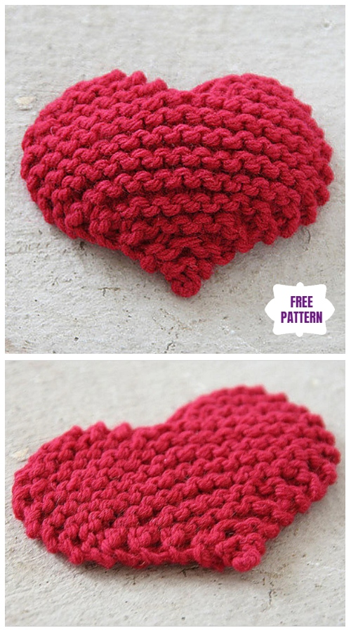 Knit Garter Stitch Heart  Free Knitting Pattern