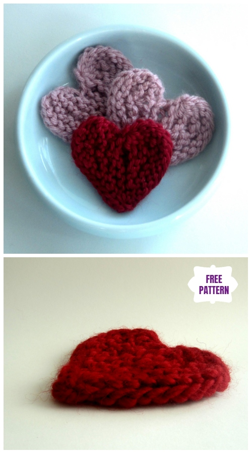 Valentine Short-row Hearts Free Knitting Pattern