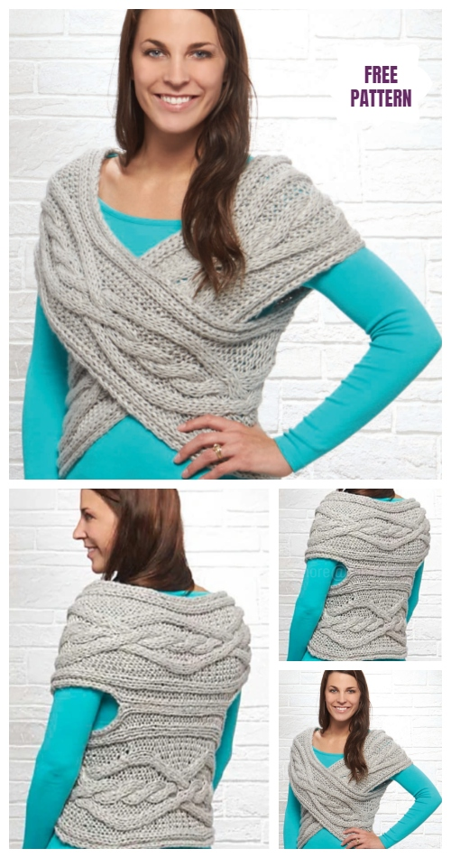 Knit Woman Cable Sweater Cowl Vest Knitting Pattern - Cable Cross Shrug Free Knitting Pattern
