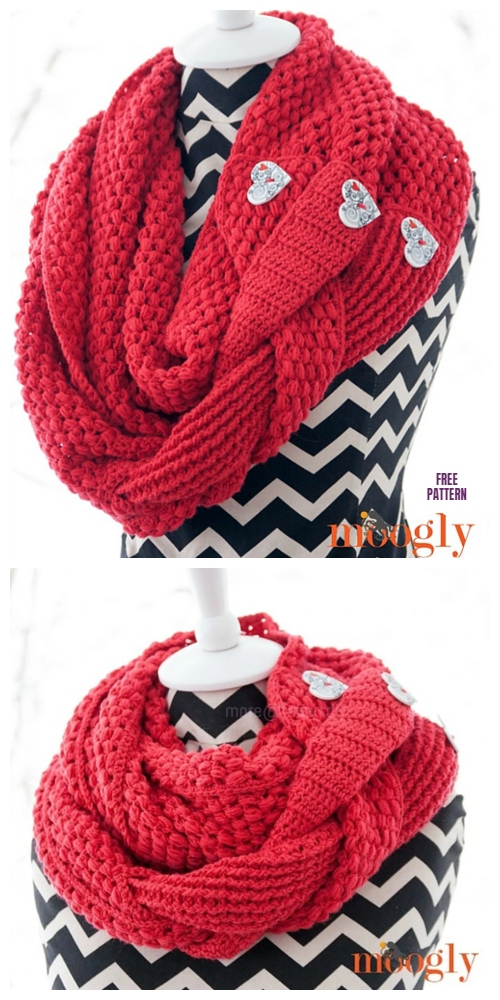 Madly In Love Braid Cowl Free Crochet Pattern