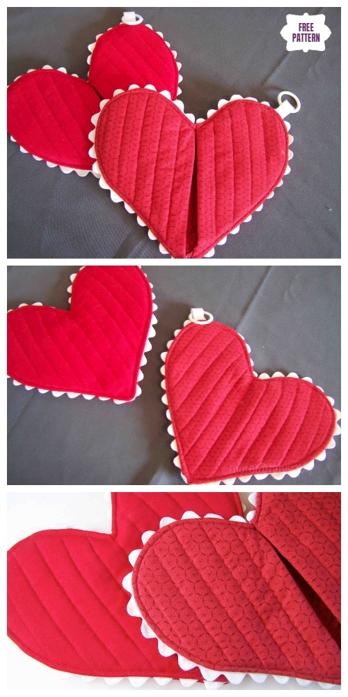 DIY Quilted Valentine Heart Hotpad Potholder Sew Free Pattern & Tutorial