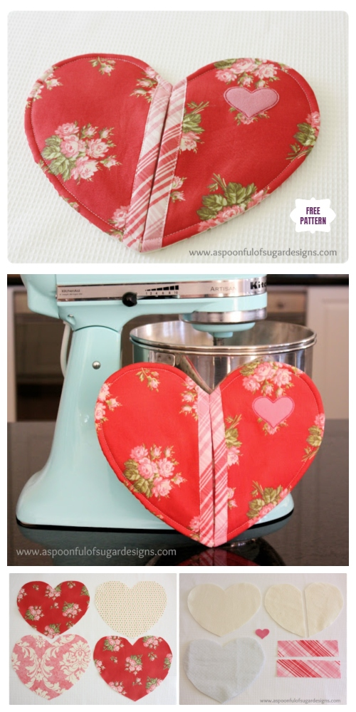 DIY Quilted Valentine Heart Potholder Sew Free Pattern & Tutorial