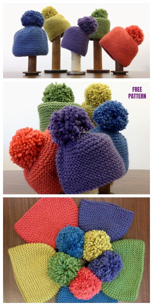 Simplest Garter Stitch Hat Free Knitting Pattern