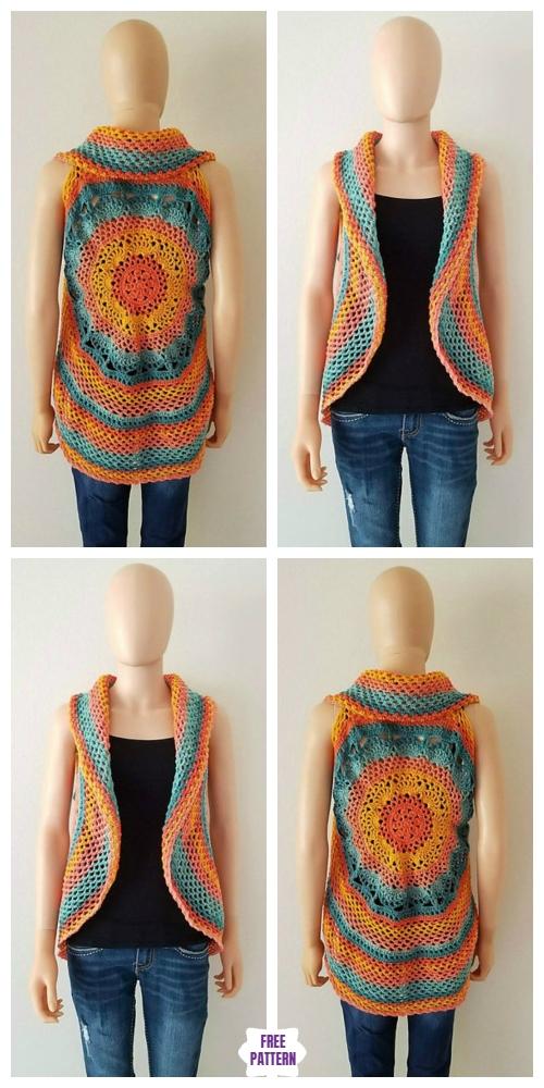 Sunset Mandala Circular Vest Free Crochet Pattern