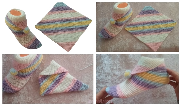 01d62784e9170d Super Easy Knit Slippers From Square Free Knitting Pattern - Video