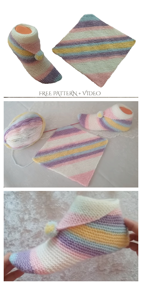 Super Easy Knit Slippers From Square Free Knitting Pattern - Video