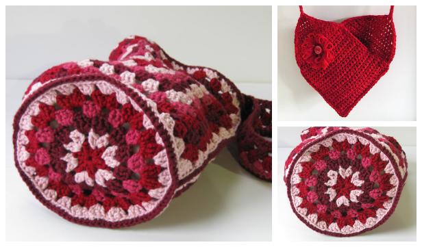 Valentine Heart Shoulder Bag Free Crochet Patterns