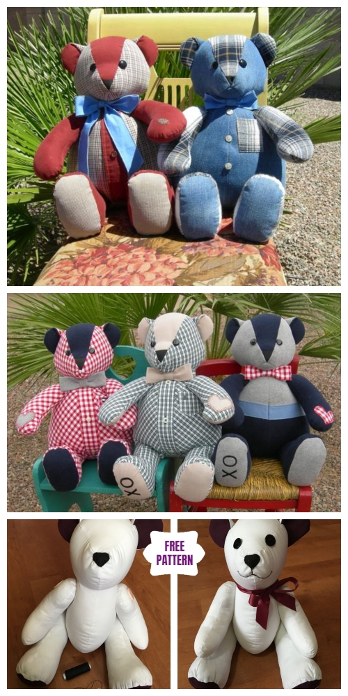 DIY Recycled Clothes Memory Bear Free Sew Patterns out of Men Shirt