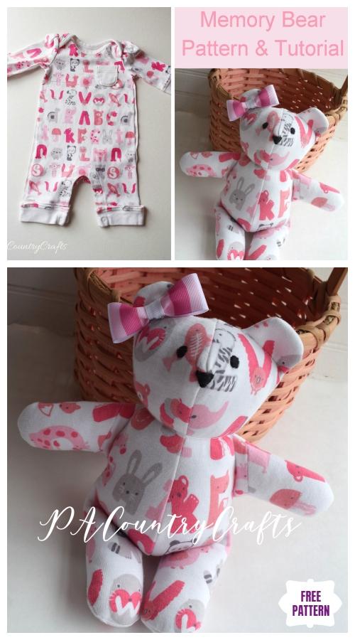 DIY Recycled Baby Onesie Sleeper Memory Bear Free Sew Patterns