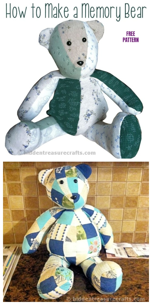 DIY Easy Recycled Clothes Memory Bear Free Sew Patterns