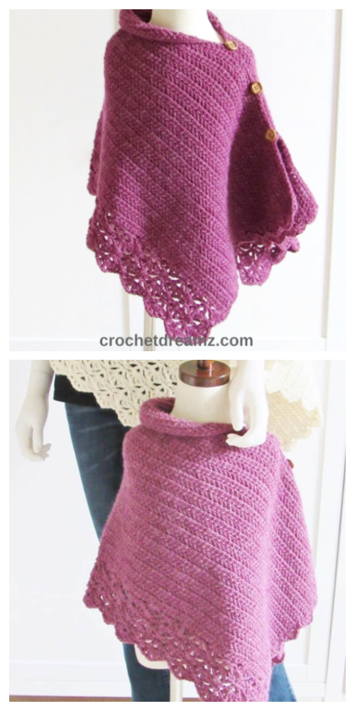 Knit Look Kids Uptown Poncho Free Crochet Pattern