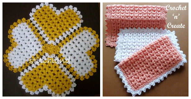 Puff Stitch Dishcloth Free Crochet Patterns