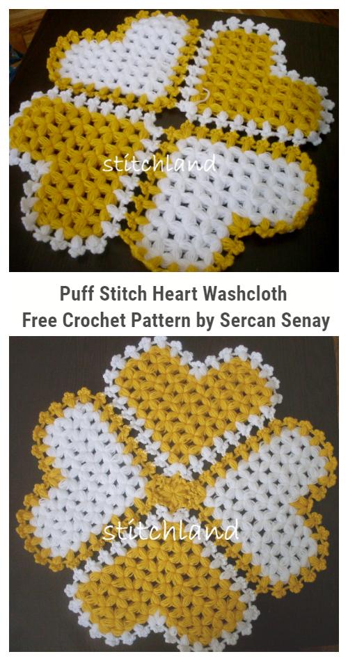 Puff Stitch Heart Dishcloth Free Crochet Patterns