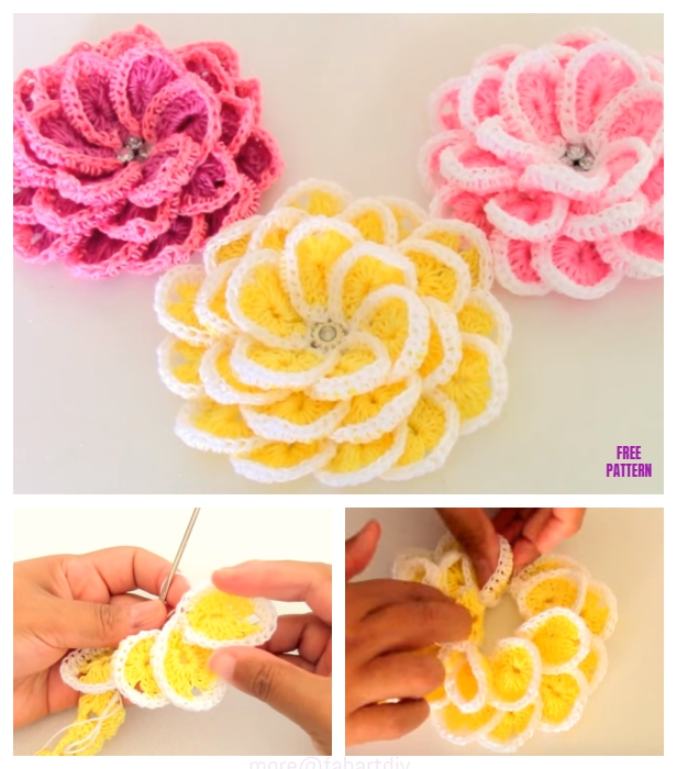 Crochet 3D Flower In Single Strip Free Crochet Pattern - Video