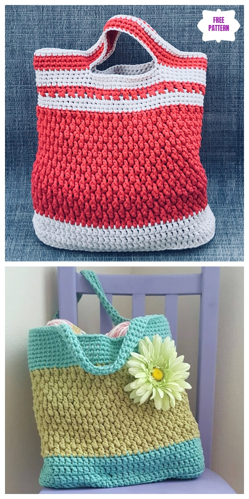 Crochet Brickwork Beach Bag Free Crochet Pattern