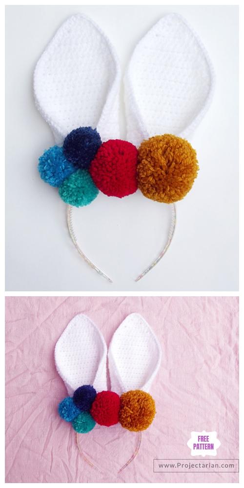 Crochet Pom Pom Easter Bunny Headband Free Pattern