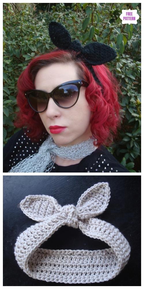 Crochet Retro Rabbit Ears Easter Bunny Headband Free Pattern
