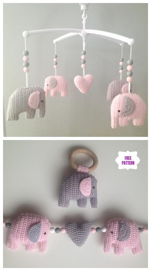 Crochet Sweet Little Elephant Mobile Amigurumi Free Patterns -Video