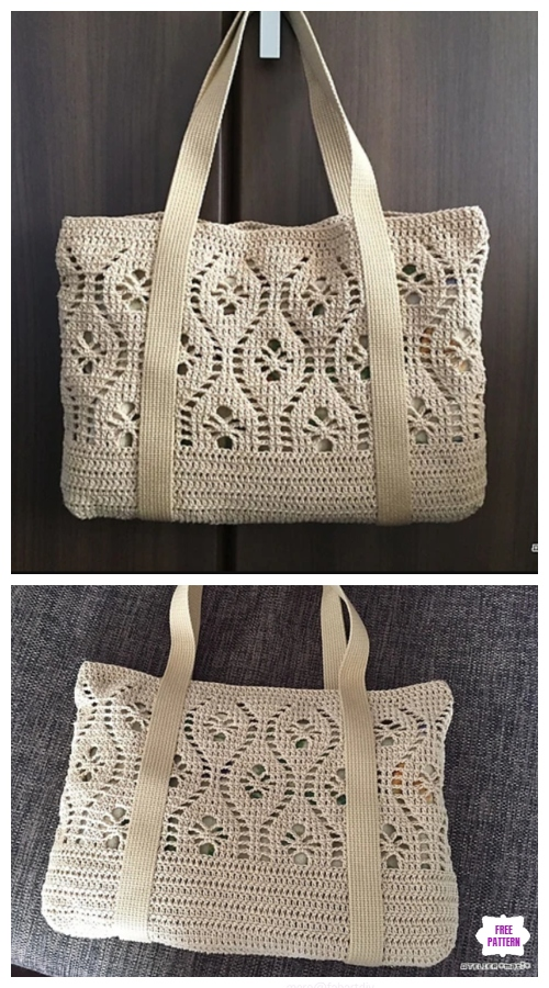 Crochet Flower Tote Bag Free Crochet Pattern