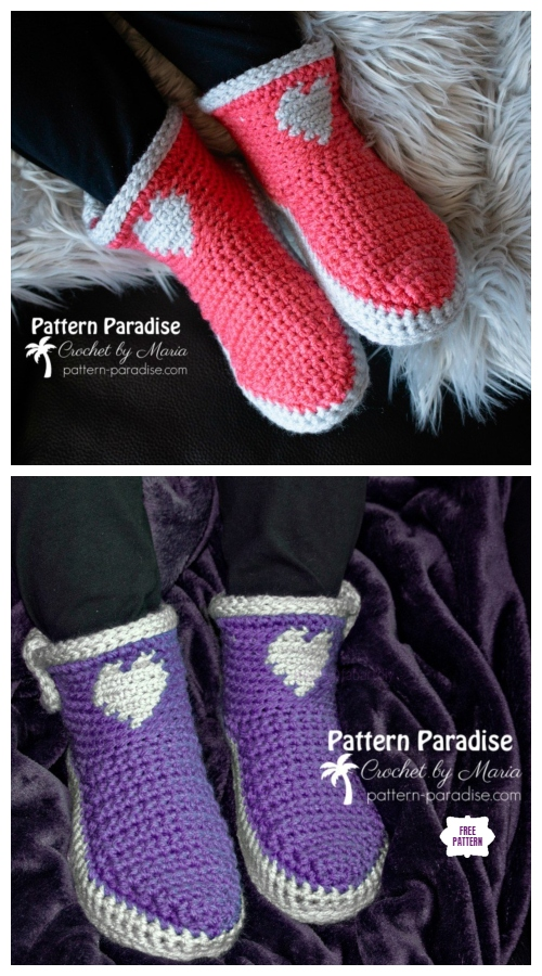 Crochet Made with Love Slippers Free Crochet Pattern