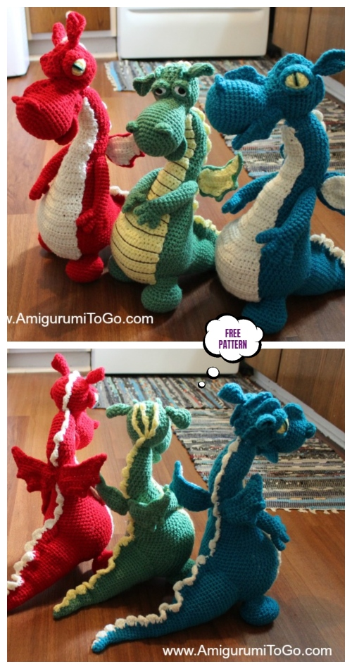 Crochet Magical Fire Breathing Dragon Amigurumi Free Pattern
