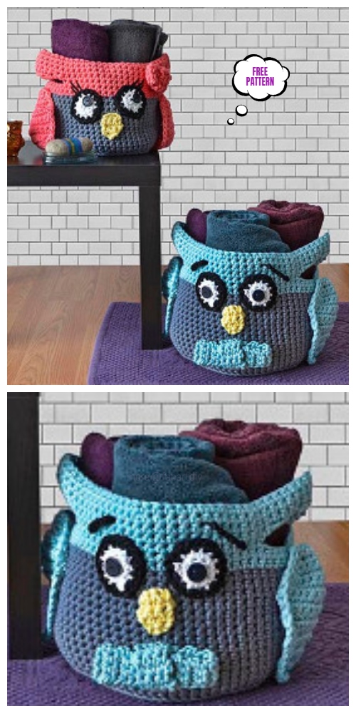 Crochet Owl Basket Free Patterns -Crochet Hooty Owl Crochet Baskets Free Pattern