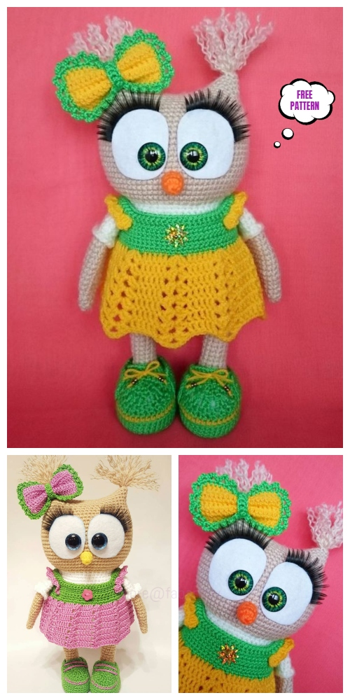Crochet Owl in Dress Amigurumi Free Pattern