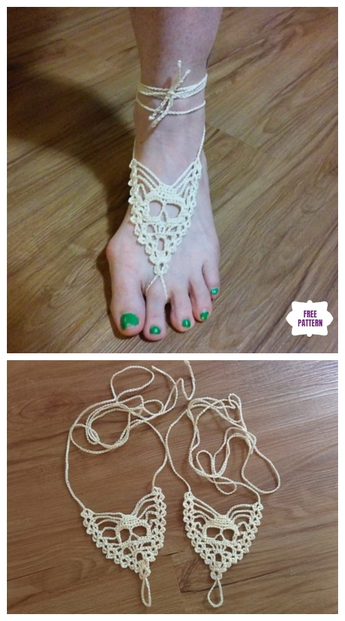 Crochet Skull Barefoot Sandal Free Crochet Pattern and More