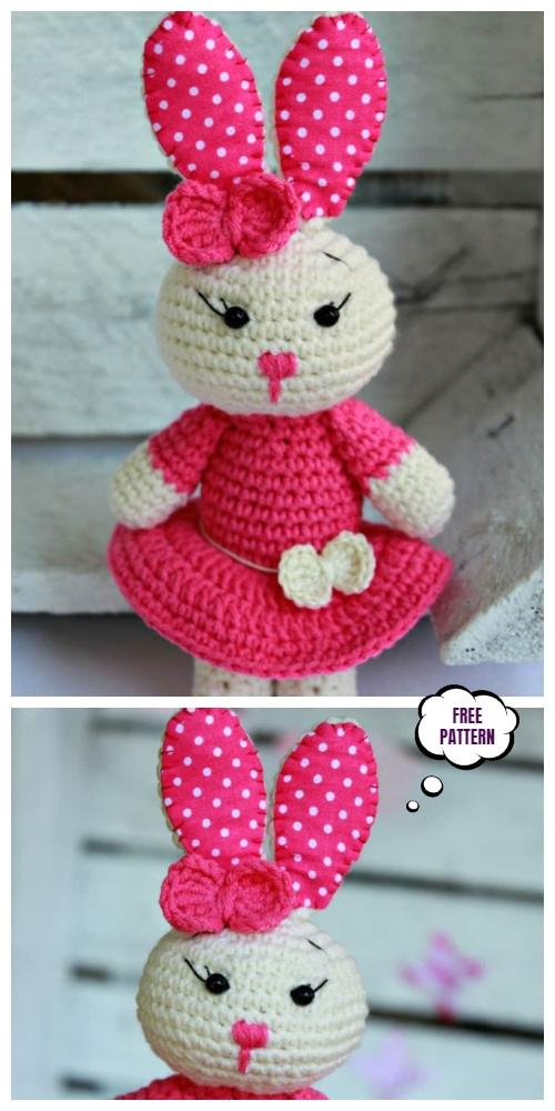 Crochet Sweet Bunny in Dress Amigurumi Free Patterns