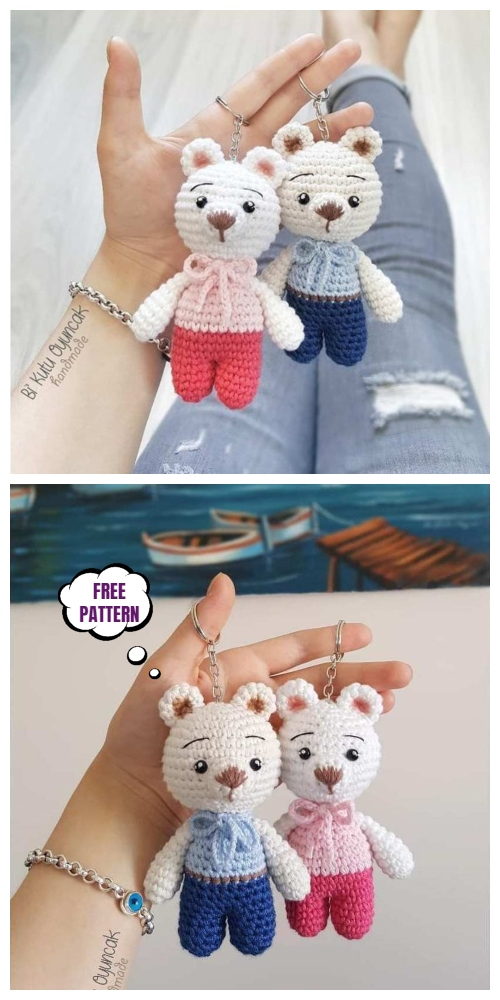Crochet Teddy Bear Keychain Amigurumi Free Patterns