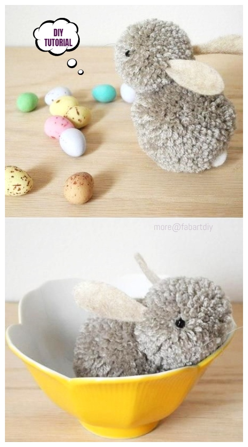 Cute Easter DIY Pom Pom Bunny Tutorials