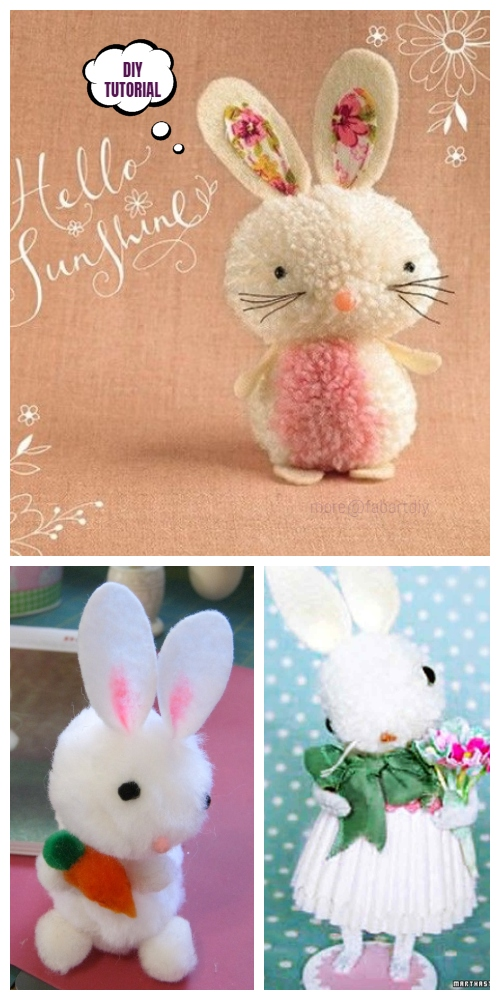 Cute DIY Pom Pom Easter Bunny Tutorials