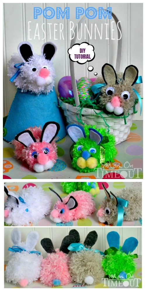 Cute DIY Pom Pom Easter Bunny Craft Tutorials