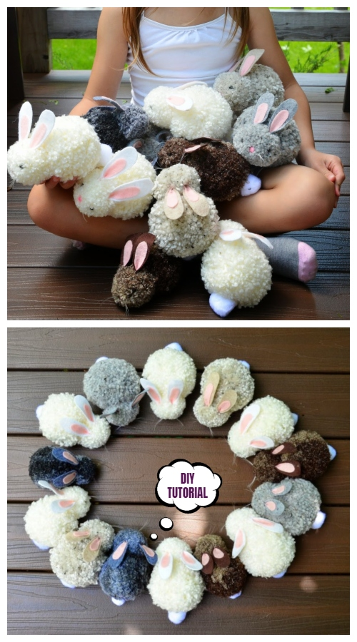 Cute DIY Pom Pom Easter Party Bunnies Craft Tutorials