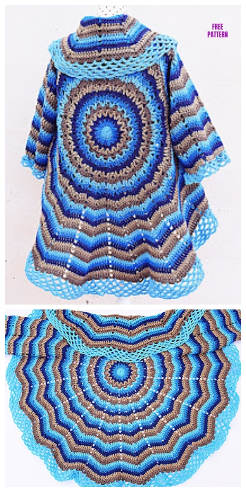 Easy Circle Jacket Sweater Wrap Free Crochet Pattern - Video