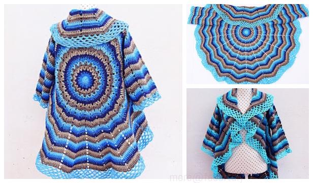 Easy Circle Jacket Sweater Wrap Free Crochet Pattern Video