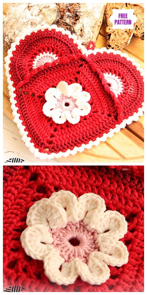 Crochet Granny Square Heart Potholder Free Crochet Patterns