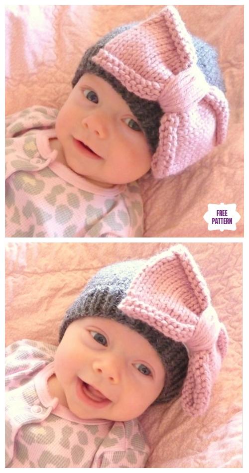 db34c7845 Knit Bow Baby Hat Free Knitting Pattern